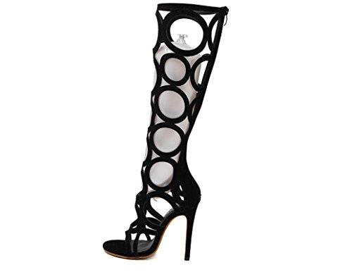 YCMDM delle donne dei sandali tacchi scarpe sexy nero 35 36 37 38 39 40 , black , 38