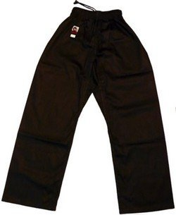 Playwell Kung Fu Black 100% Cotton Open Legged Trousers 4/170Cm by Playwell