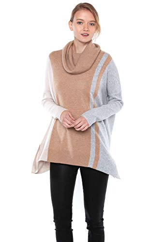 J CASHMERE Women's 100% Pure Cashmere Cocoon Dolman Sleeve Cowlneck Sweater(S, OatCamGrey)
