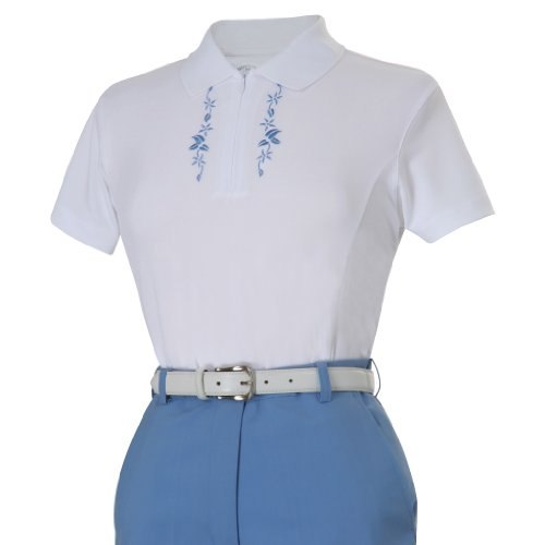 Monterey Club Ladies Zipped Placket Embroidered Short Sleeve Shirt #2146 (White/Harbor Blue, Small)