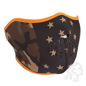 Zan Headgear Half Face Adjustible Neoprene Face Mask Camo Stars and Stripes Reverses to Black