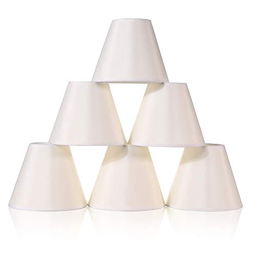 Wellmet 6 Pcs Empire Chandelier Lampshades Small Kit, Clip on Fabric Faux Silk Lamp Shades for Lightings and Lamps, 3