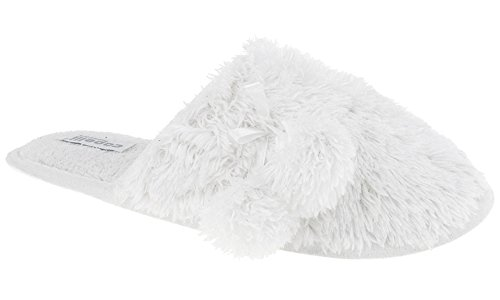 Capelli New York Dames Faux Fur Slipper Scuff Met Satijnen Strik En Poms Wit