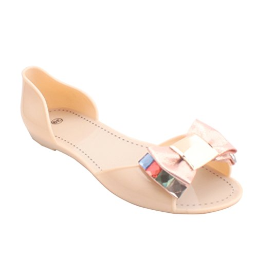 Omgard Women Sandals Summer Peep Toe Jelly Shoes Sandal Flat Shoes Woman Color Beige Size 8