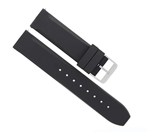 Ewatchparts 20MM Rubber Diver Band Strap for Croton Watch Black #32R