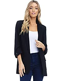 Women's Open Front Blazer Jacket Suit, Loose Fit ¾ Sleeve Woven Work Blazer with Pockets