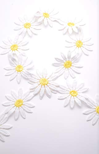 Garfield Tong Tong 3 Yards Daisy Flower Ribbon Embroidered Trim 5.5 cm Delicate Sewing Crafts for Clothing Applique Pattern Headbands Bridal Wedding Hair Decorating Beddings Curtains Accessories
