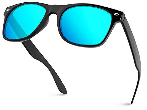 WearMe Pro - Horn Rimmed Glossy Frame Sunglasses Mirror Lens Sunglasses ()