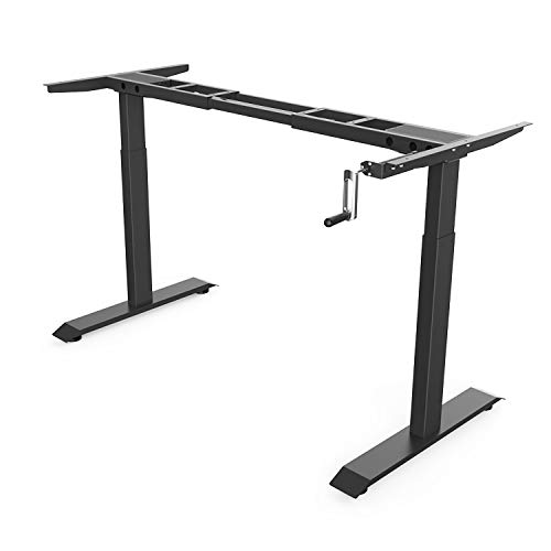 Height Adjustable Sit Stand Standing Desk Frame with Manual Crank Ergonomic
