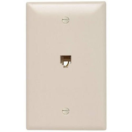 - Legrand - Pass & Seymour TPTE1LACC12 Single Gang Modular Telephone Jack with Wall Plate, Four Conductor, Light Almond