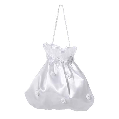 LUOEM Satin Bridal Wedding Money Bag White Bridal Bridesmaid Satin Flower Decorated Bag Handbag Pearl Dollar Dance Bridal Purse Wedding Favor