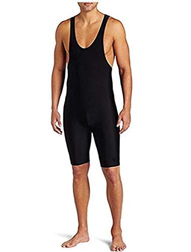 (CHICTRY Men's Solid Standard Modified Wrestling Singlet Bodysuit Boyshorts Underwear Leotard Outdoors Black Medium)