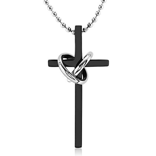 01cebd2f242a Caliente de la venta Gnzoe Joyería Acero Inoxidable Unisex Collar Cruzar Círculo  Forma Colgante Señor Cadena