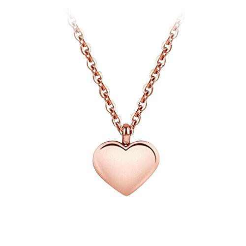 Heart Necklace Mini - 18k Rose Gold Plated Mini Love Heart Pendant Necklace Women's Jewelry Mother's Day Gift(heart)