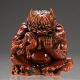 Capsule Q Museum Takeya workshop humbly made specter Netsuke 2 [ three-dimensional view pandemonium ] wood carving style colored demon single item