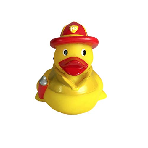 Ad Line Fireman Rubber Duck Bath Toy | Sealed Mold Free | Child Safe