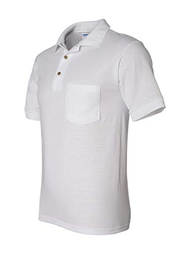 Gildan mens DryBlend 6 oz. 50/50 Jersey Polo with Pocket(G890)-WHITE-2XL
