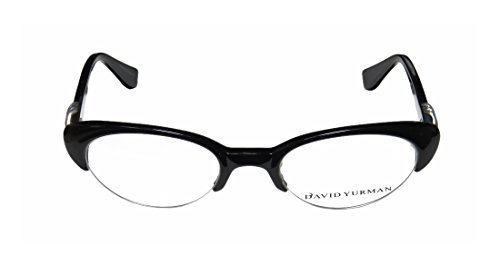 david-yurman-060-womens-ladies-cat-eye-half-rim-eyeglasses-spectacles-49-20-135-black-silver