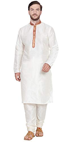 SKAVIJ Men's Tunic Kurta Pyjama Set Indian Ethnic Dress (X-Large, Off-White)