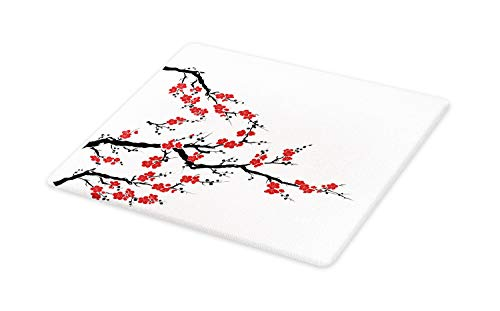 Lunarable Japanese Cutting Board, Simplistic Cherry Blossom Tree Asian Botanic Themed Pattern Fresh Organic Lines, Decorative Tempered Glass Cutting and Serving Board, Large Size, Cinnamon Red - Cherry Pattern Glass