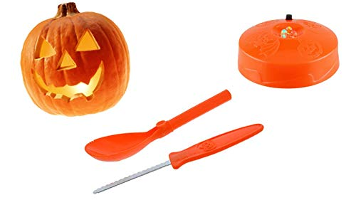 Pumpkin Carving Kit - Strobe Light (2 Pack) Add a Safe LED Flickering Effect to Your Spooky Halloween Sculptures - Carver Knife Saw & Scraper - Sculpting Tools