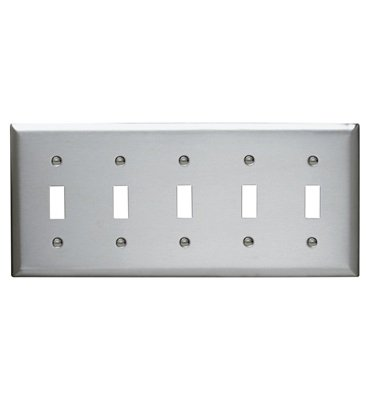 Pass & Seymour Standard 5-Gang Smooth Metal 302 Stainless Steel Toggle Switch Wall Plate SS5