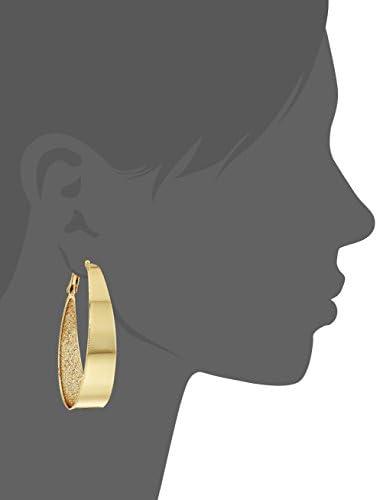Guess Large Oval Glitter Hoop Earrings