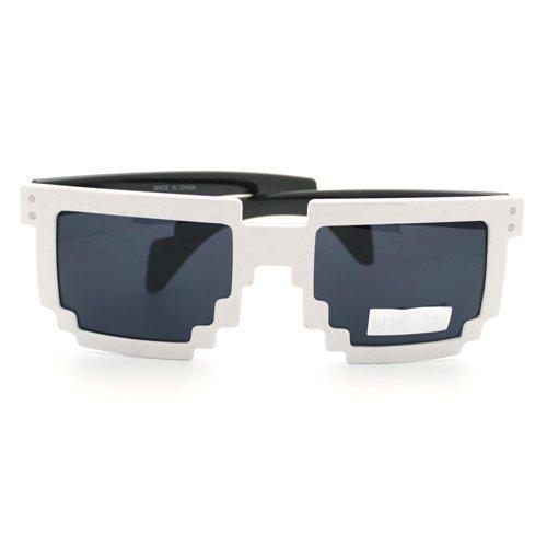 White Pixelated Glasses Clear Lens Nerd Video Game Geek - Geek Glasses Trendy