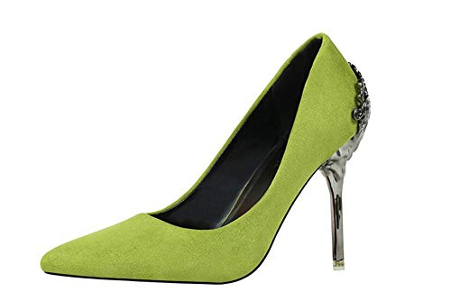 Lime Green Pumps - Women Classic Pointed Toe High Heels Sexy Stiletto Pumps Office Lady Dress Shoes(Green-Lable 39/8 B(M) US Women)