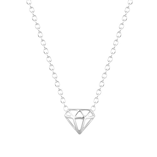 - Diamond-Shaped Three-Dimensional Triangle necklaces & pendants For Women Silver Necklace