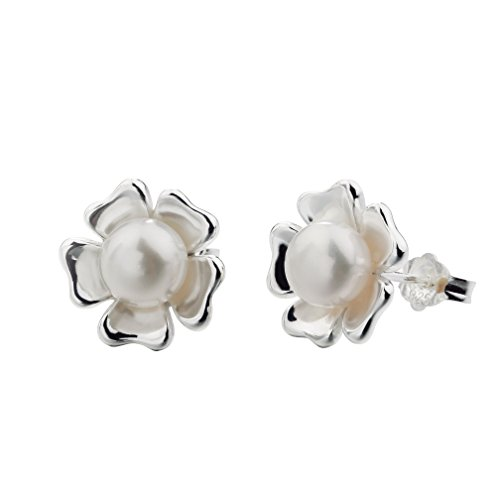 SILVERAGE Sterling Silver White Flower Freshwater Cultured Pearl Stud Earrings Handpicked High - Victoria Tiffany Co And