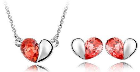 klaritta cristal Parure de bijoux d'argent et boucles d'oreilles clous cœurs Rouge et Collier S131
