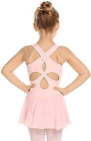 Arshiner Kid Girls Hollow Back Ballet Skirted Leotard Sleeveless Dance Dresses