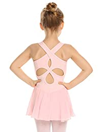 Arshiner Kid Girls Hollow Back Ballet Skirted Leotard Sleeveless Dance Dresses