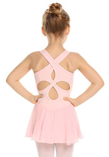 Arshiner Kid Girls Hollow Back Ballet Leotard with Skirt Sleeveless Dance Dresses
