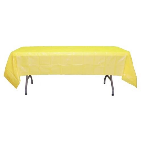 6-Pack Premium Plastic Tablecloth 54in. x 108in. Rectangle Plastic Table cover - Light Yellow