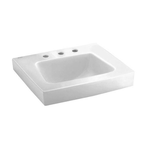 (American Standard 0194.431.020 Roxalyn Wall-Hung Lavatory 8-Inch Center Set with Extra Right Hand Hole, White)