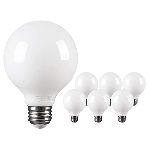 TORCHSTAR LED Dimmable Frosted Filament G25 Light Bulb, 4.5W (60W Eqv.) Omni Directional Lighting Globe Bulb, UL-Listed, 2700K Soft White, 500lm, E26 Base, 2 Years Warranty, Pack of 6 (3000k Led Globe)