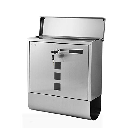 - Gxf1233 GXF Wall-Mounted Outdoor Waterproof Mailbox Security Lockable with Cover and 2 Keys Stainless Steel with Visible Windows and Newspaper Holder, Drawing Process, 30x8.5x33cm