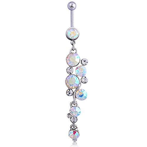 Belly Button Rings Dangle Sexy Long for Women Girl Surgical Steel 14G Navel Body Piercing Jewelry (ab long)