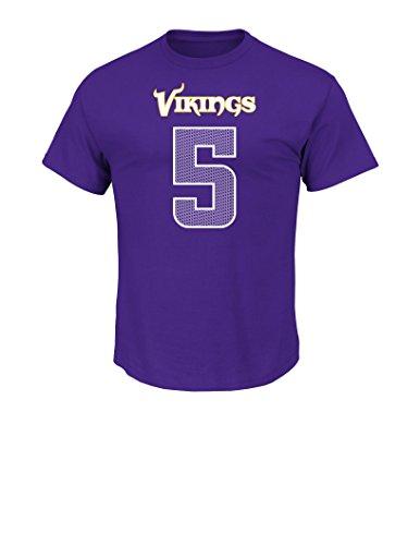 NFL Minnesota Vikings Teddy Bridgewater Men's 5 Athletic Coordinator Tee, Small, Regal Purple