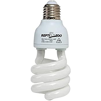 REPTIZOO Energy Saving Lamps UVB Bulb,Spiral Compact 15 Watts 26 Watts UVB 5.0 Reptile Light Bulb Fit for Rainforest Type ...
