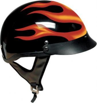 DOT Black Motorcycle Half Helmet with Flames (Size 2XL, XX-Large)