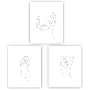 Barri Design Hands On Face Feminine Hands Print Poster Black and White Sketch Art Line Drawing Print Minimal Art Simple Fashion Woman Art (UNFRAMED)