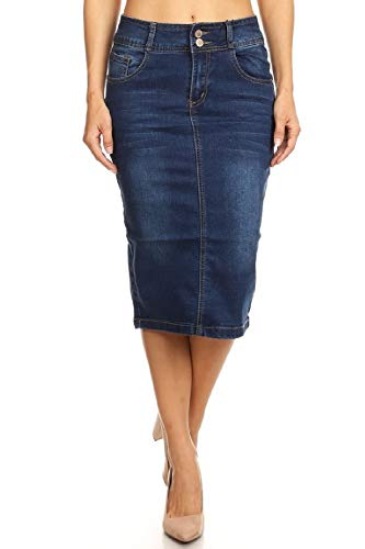 - Women's Plus Size Mid Waist Below Knee Length Denim Skirt in a Pencil Silhouette in M. Blue Size 2XL