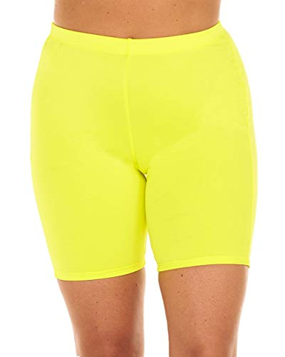 (iHeartRaves Neon Yellow Future So Bright Neon High Waisted Biker Shorts)