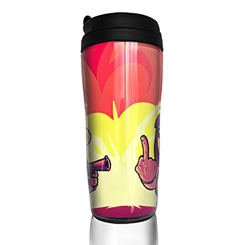 William D Oliver Pop Team Epic 12Ounce(350ml) Food Grade ABS Anime Thermos Coffee Cup with Sealed Lid Coffee Mug Tea Cup