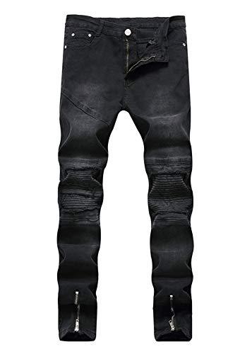Versaces Hombres Jeans Locomotora Pliegue de la Rodilla Agujero Cremallera Lateral Elasticidad Pies pequeños Pantalones Color 2
