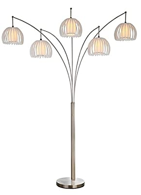 """Artiva USA LED612218FSN Zucca 5-Arch Brushed Steel LED Floor Lamp with Dimmer, 89"""", Nickel"""