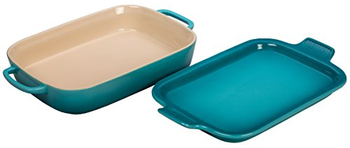 (Le Creuset Stoneware Rectangular Dish with Platter Lid, 14 3/4